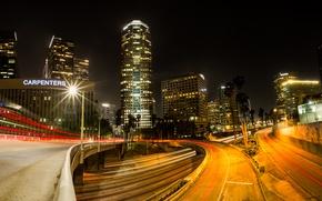 Picture night, lights, street, home, interchange, USA, Los Angeles