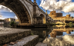 Picture river, Rome, Italy, The Tiber, Ponte Sant'angelo, Castel Sant'angelo