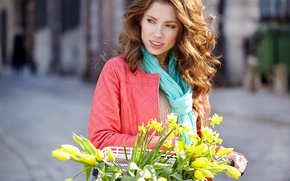 Picture flowers, face, smile, woman, Girls, tulips
