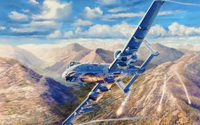 Picture war, art, painting, aviation, Fairchild Republic A-10 Thunderbolt II