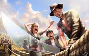 Wallpaper Harrison Ford, hat, man, sword, girl, Indiana Jones and the Temple of doom, Indiana Jones ...