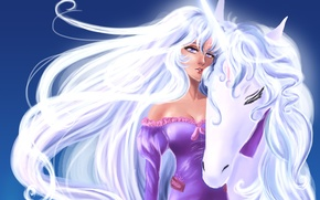 Picture look, girl, face, horse, mane, unicorn, white hair