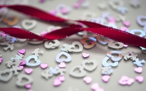 Picture sequins, blue, small, hearts, pink, large, wedding, ribbon, raspberry