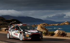 Picture Ford, Sea, Mountains, Clouds, WRC, France, Rally, Rally, Fiesta, Robert Kubica, Tour de Corse