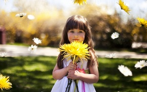 Picture girl, mood, flowers