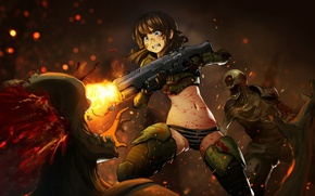 Picture girl, weapons, blood, the game, art, monsters, Doom 4