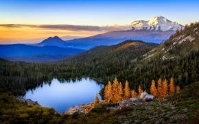 Picture forest, mountains, nature, lake, dawn, Heart Lake, Castle Lake, Mt Shasta