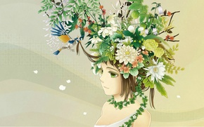 Picture girl, bouquet, profile, bird, ame, art, green eyes