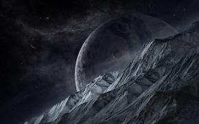 Picture stars, rocks, planet, satellites
