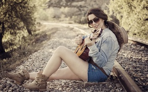 Wallpaper girl, music, guitar, railroad