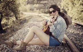 Picture girl, music, guitar, railroad