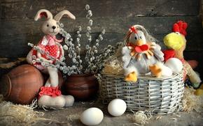 Picture toys, egg, chicken, rabbit, Easter, basket, Verba