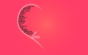 Wallpaper recognition, holiday, Valentine's day, heart, love, pink background, half, words, Valentine's day, feelings
