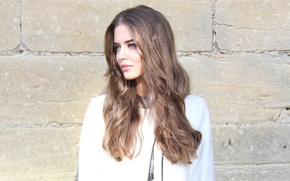 Picture face, model, hair, Clara Alonso, stone wall
