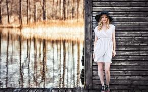Picture water, retro, model, Girl, hat, Paulina