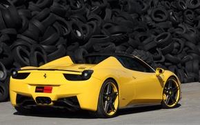 Picture tuning, car, tuning, yellow, Ferrari 458 Italy, tires, Italian brand, ferrari 458 italia spider