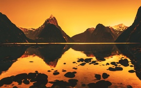 Picture river, New Zealand, water, mountains, mountain, hills, hill, sunrise, reflection, Morning Stillness