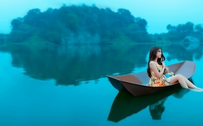Picture girl, water, boat