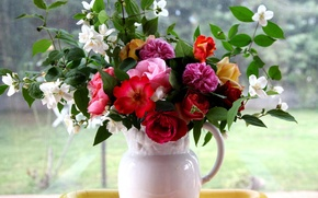 Picture flowers, bouquet, window, pitcher