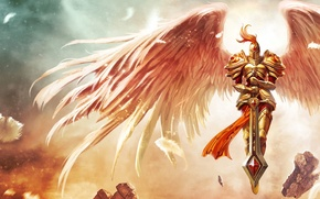 Wallpaper stones, wings, sword, feathers, armor, League of Legends, Kayle