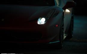 Picture machine, auto, light, darkness, lights, Ferrari, Ferrari, wheels, drives, auto, 2015, Vossen Wheels