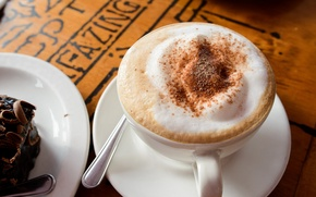 Picture foam, coffee, chocolate, milk, plate, spoon, Cup, drink, cake, cappuccino, saucer
