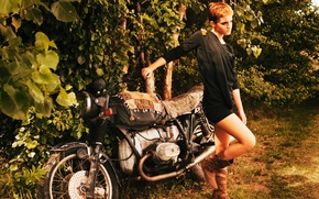 Picture foliage, actress, motorcycle, Emma Watson