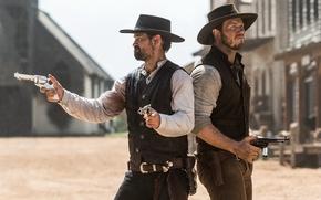 Picture cowboys, hats, Western, revolvers, Chris Pratt, Chris Pratt, The Magnificent Seven, The magnificent seven, Manuel …