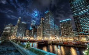 Picture water, night, the city, lights, reflection, channel, America, Chicago, USA, States, usa, u.s.a., chicago