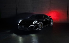 Picture car, 911, Porsche, black, tuning, Turbo, rechange, TechArt