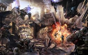 Picture the city, weapons, people, fiction, explosions, ships, ruins, battle, fantasy, the battle, corpses, shots, Eduardo …