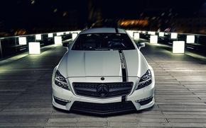 Wallpaper night, tuning, Mercedes, Mercedes Benz CLS