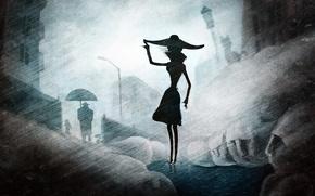 Picture girl, rain, hat, silhouette