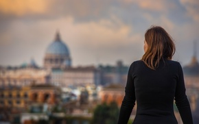 Picture girl, view, Rome, Italy