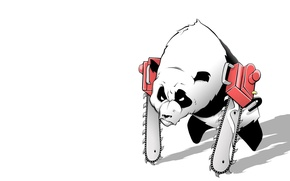 Wallpaper white, Panda, saw, chainsaw-panda