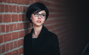 Picture look, girl, face, style, wall, sweetheart, haircut, portrait, shadow, makeup, glasses, hairstyle, beautiful, the beauty, …