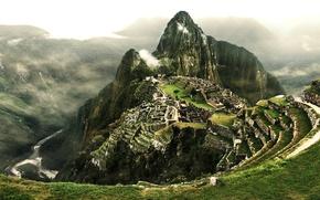 Picture clouds, river, mountain, stage, Peru, Machu Picchu, city of the Incas