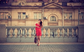 Picture girl, Moscow, architecture, in red