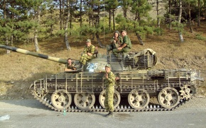 Wallpaper road, soldiers, tank, Russia, t-62