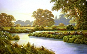 Picture trees, landscape, flowers, river, glade, painting, Terry Grundy, Autumn Coming, the approach of autumn