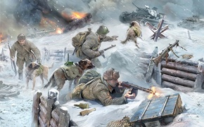 Picture dogs, art, fighters, tank, 500, under, troops, for, Soviet, WW2., tanks, tanks, fight, German, due, …