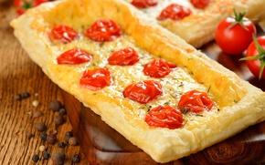 Picture pie, Board, pepper, tomato, tomatoes, pellet