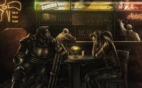 Picture woman, bar, art, male, armor, fallout, power, minigun, cafe of broken dreams