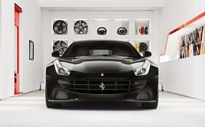 Picture room, Ferrari, Ferrari, drives, black, front, caliper, shelves, brake disc, handlebars