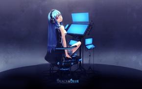 Wallpaper Vocaloid, headphones, Hatsune Miku