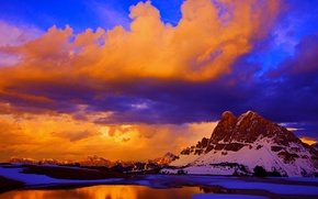 Picture the sky, clouds, snow, sunset, mountains, lake