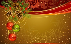 Picture holiday, toys, new year, spruce, vector, the scenery, bumps, happy new year, christmas decoration, Christmas ...