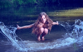 Picture water, girl, squirt, river, hair, splash