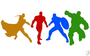 Picture Heroes, Hulk, Color, Iron man, Minimal, Iron Man, Marvel, Captain America, Captain America, Thor, Thor, …