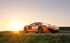 Picture McLaren, front, MP4-12C, orange, the sun, glare, McLaren